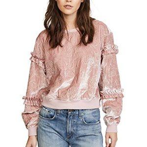 CINQ À SEPT Nara Embroidered Velvet Sweatshirt